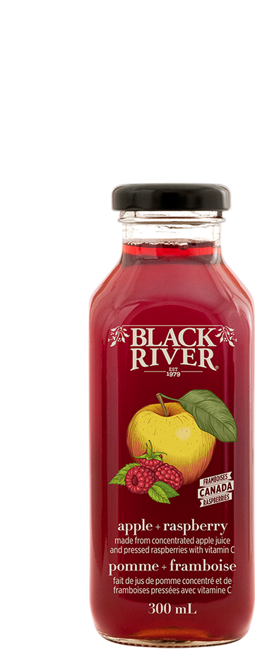 Black River apple raspberry juice in a glass bottle.