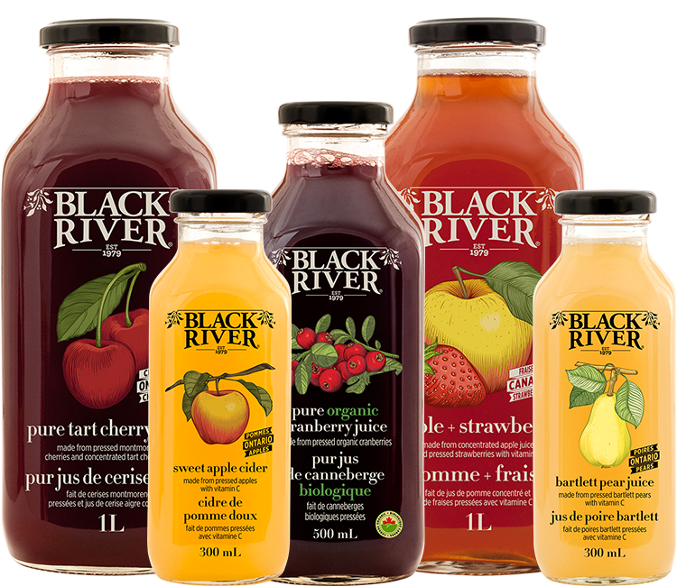 A variety of colors and flavours offered by Black River Juice including Cranberry, Apple Strawberry and Bartlett Pear