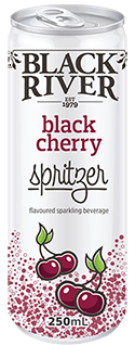 Black River black cherry spritzer in a 250ml can