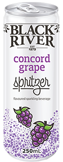 Black River concord grape spritzer in a 250ml can