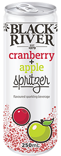 Black River cranberry + apple spritzer in a can