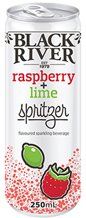 Black River raspberry lime spritzer in a 250ml can